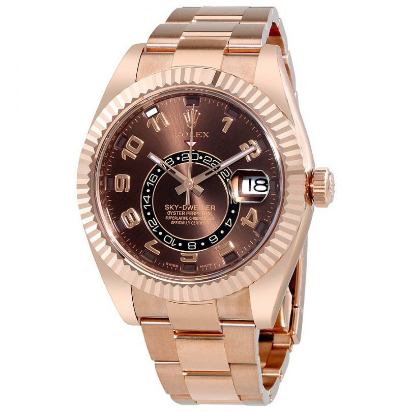 Rolex Sky Dweller Chocolate Dial 18K Everose Gold Oyster Bracelet Automatic Men's Watch 326935CHAO
